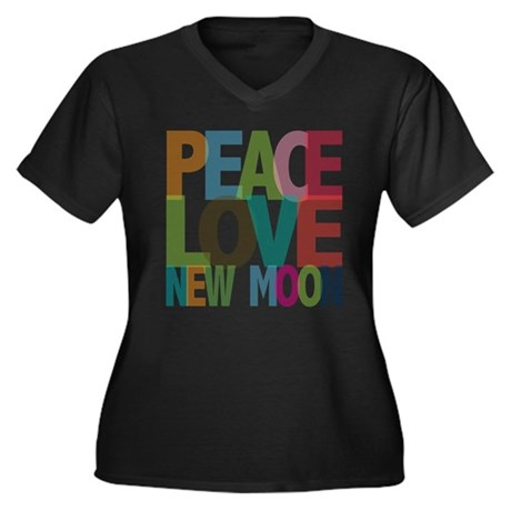 Peace Love New Moon Women's Plus Size V-Neck Dark