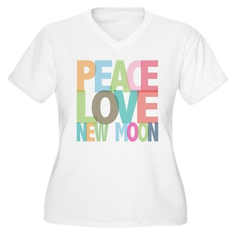 Peace Love New Moon Women's Plus Size V-Neck T-Shi