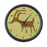 Native American Deer Petroglyph Large Wall Clock