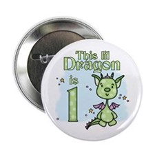 "Lil Dragon First Birthday 2.25"" Button (100 pack)"