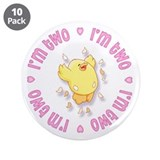 "Happy Chick 2nd Birthday Pink 3.5"" Button (10 pack"