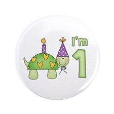 "Little Turtle First Birthday 3.5"" Button"