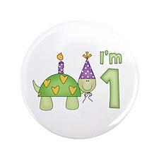 "Little Turtle First Birthday 3.5"" Button (100 pack"
