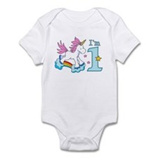 Rainbow Unicorn First Birthday Infant Bodysuit