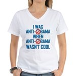 I was Anti Obama Women's V-Neck T-Shirt