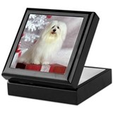 Maltese Holiday Dog Keepsake Box