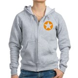 Orange Disc Star Zip Hoodie