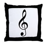 Black Clef Throw Pillow