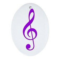 Purple Clef Oval Ornament