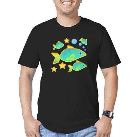 Happy Fish Men's Fitted T-Shirt (dark)