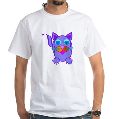 Silly Cat White T-Shirt