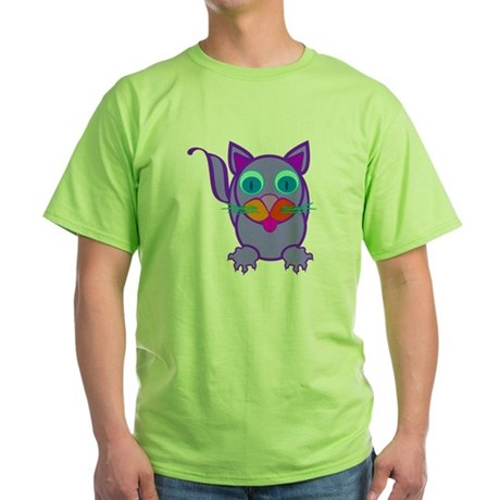 Silly Cat Green T-Shirt