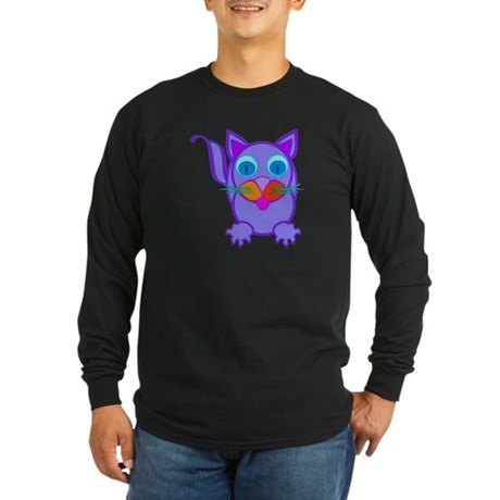Silly Cat Long Sleeve Dark T-Shirt