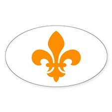 Orange Fleur-de-Lys Oval Decal