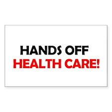 Hands Off Health Care Rectangle Sticker 10 pk)