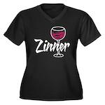 Zinner Women's Plus Size V-Neck Dark T-Shirt