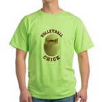 Volleyball Chick 2 Green T-Shirt