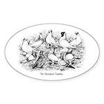 Shortface Tumbler Pigeons Oval Sticker
