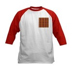 Orange And Yellow Latticework Kids Baseball Jersey
