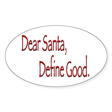 Dear Santa Oval Sticker
