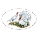 Beltsville White Turkey Oval Sticker (10 pk)