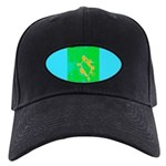 Abstract Design Black Cap (green & blue)