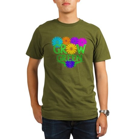 Grow Green Floral Organic Men's T-Shirt (dark)