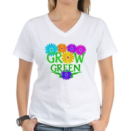 Grow Green Floral Women's V-Neck T-Shirt