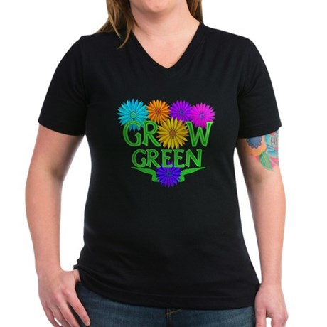 Grow Green Floral Women's V-Neck Dark T-Shirt