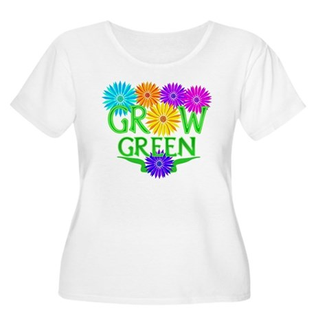 Grow Green Floral Women's Plus Size Scoop Neck T-S