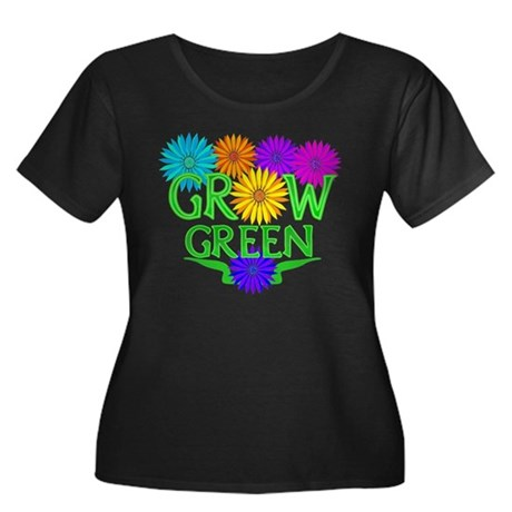 Grow Green Floral Women's Plus Size Scoop Neck Dar