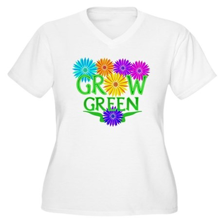 Grow Green Floral Women's Plus Size V-Neck T-Shirt