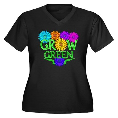 Grow Green Floral Women's Plus Size V-Neck Dark T-