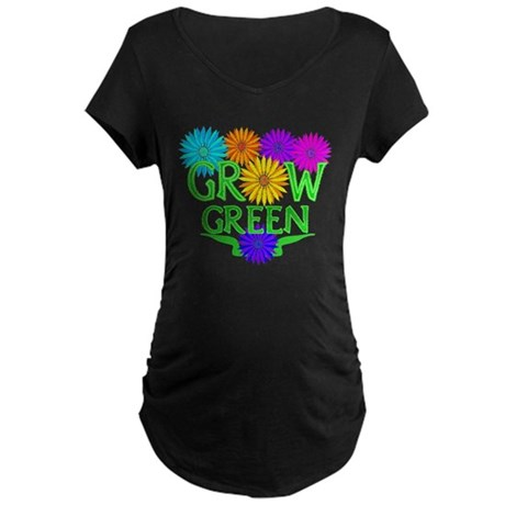 Grow Green Floral Maternity Dark T-Shirt