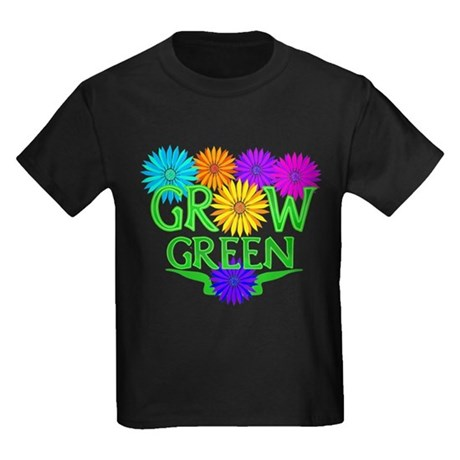Grow Green Floral Kids Dark T-Shirt
