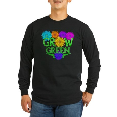 Grow Green Floral Long Sleeve Dark T-Shirt