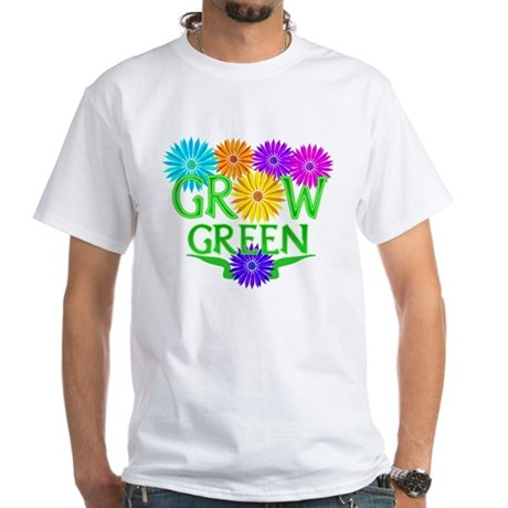 Grow Green Floral White T-Shirt
