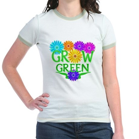 Grow Green Floral Jr. Ringer T-Shirt