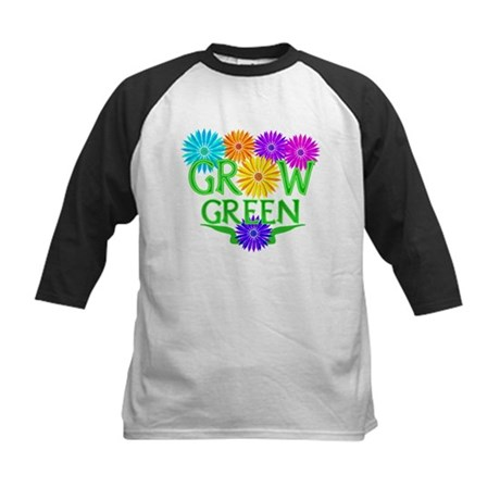 Grow Green Floral Kids Baseball Jersey