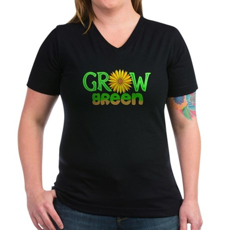 Grow Green Women's V-Neck Dark T-Shirt