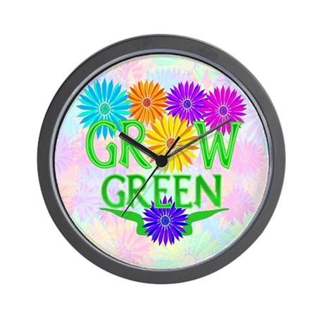 Grow Green Floral Wall Clock