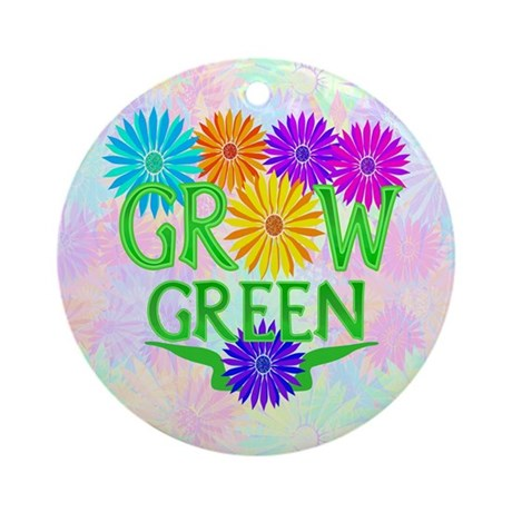 Grow Green Floral Ornament (Round)