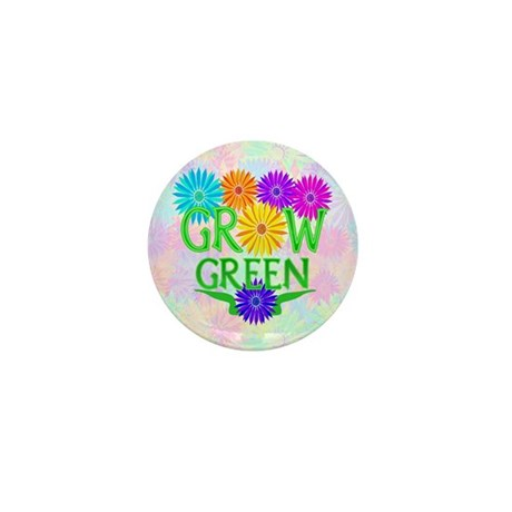 Grow Green Floral Mini Button