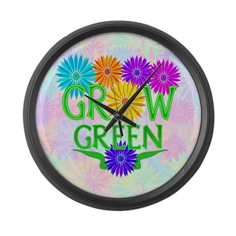 Grow Green Floral Large Wall Clock