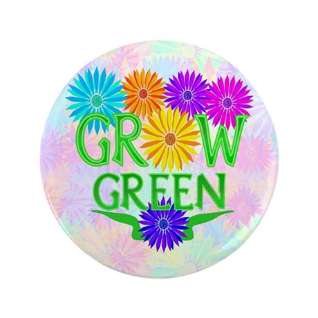 "Grow Green Floral 3.5"" Button (100 pack)"