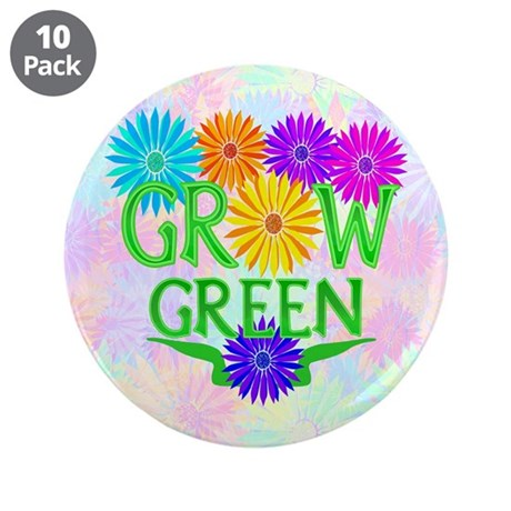 "Grow Green Floral 3.5"" Button (10 pack)"