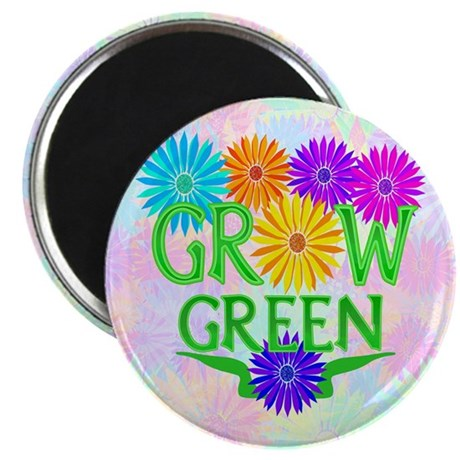 "Grow Green Floral 2.25"" Magnet (10 pack)"