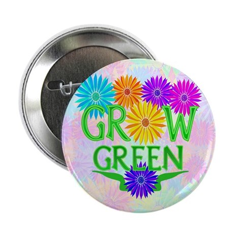 "Grow Green Floral 2.25"" Button (10 pack)"