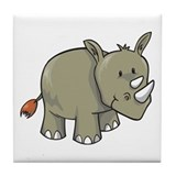 Two Horn Rhino Tile Coaster