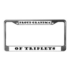 Proud Grandma of Triplets License Plate Frame